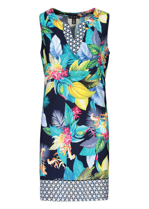 Tribal Tropical Print Split Neck Sleeveless Dress, Indigo, original