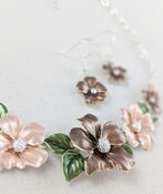 Hibiscus Garden Necklace and Earring Set, Taupe, original image number 1